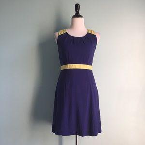 LOFT Navy Sleeveless Color Block Fit & Flare Dress